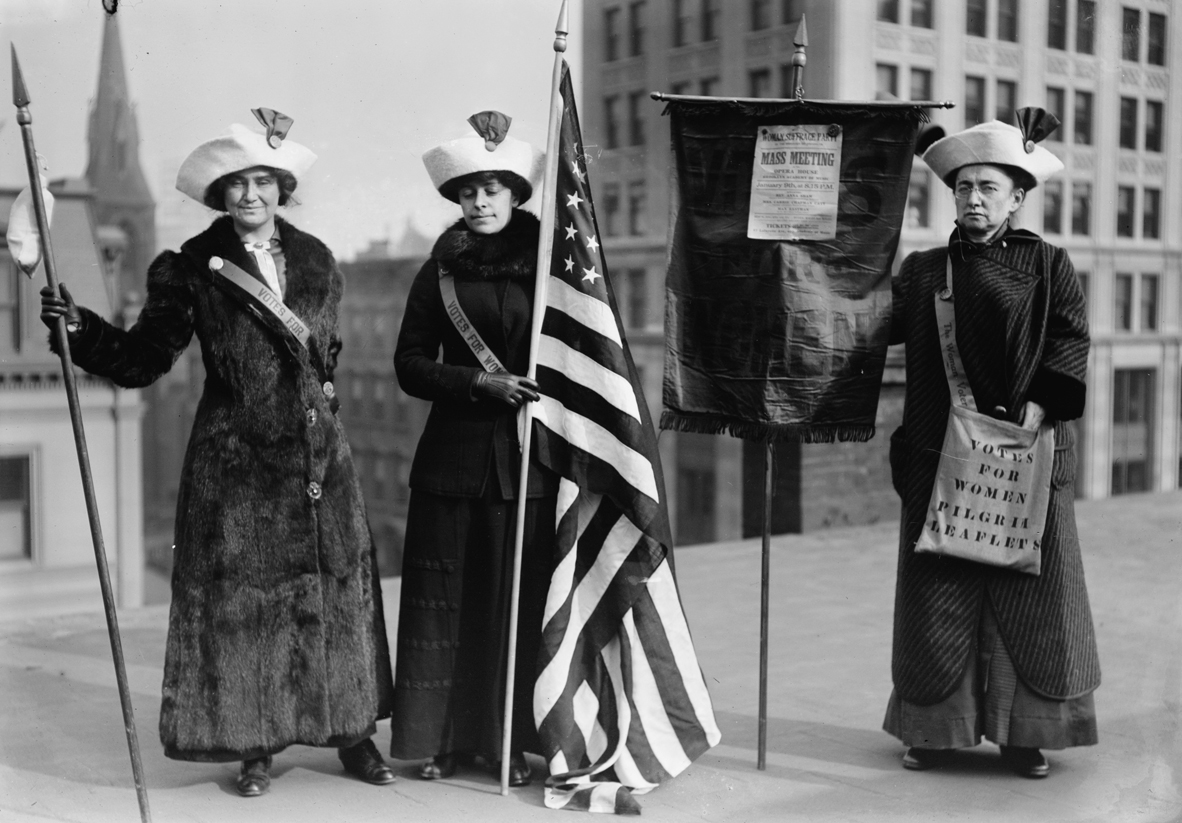 Women protesting for the right to vote